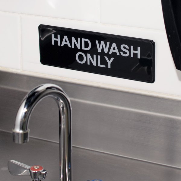 """Hand Wash Only Sign - Black and White, 9"""" x 3"""""""