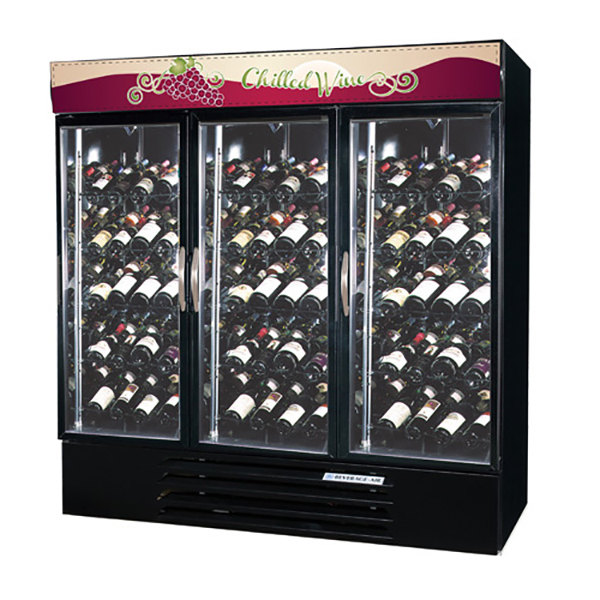 "Beverage-Air MMRR72-1-B-LED MarketMax 75"" Black Dual-Temp Wine Merchandiser with Glass Doors and LED Lighting Main Image 1"