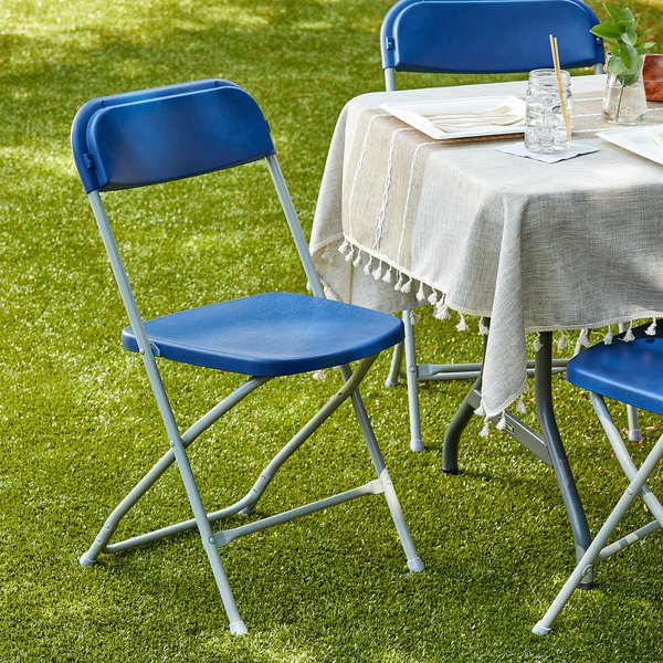 Lancaster Table & Seating Blue Textured and Contoured Folding Chair Main Image 4