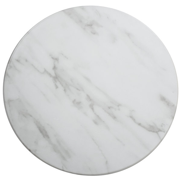 """American Metalcraft MW21 21 1/2"""" x 1 1/8"""" Round Melamine Serving Board - Faux White Marble Main Image 1"""
