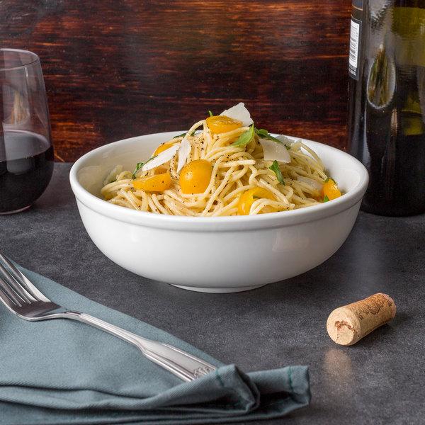 Acopa 35 oz. Bright White Porcelain Menudo / Pasta / Salad Bowl - 12/Case Main Image 3