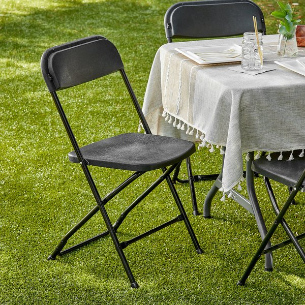Lancaster Table & Seating Black Textured and Contoured Folding Chair Main Image 4