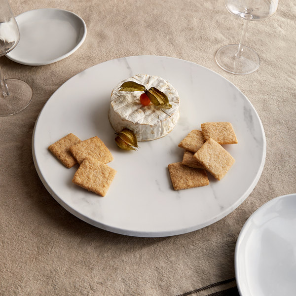 """American Metalcraft MW14 14"""" x 1 1/8"""" Round Melamine Serving Board / Charger - Faux White Marble"""