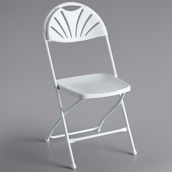 Lancaster Table & Seating White Plastic Fan Back Folding Chair Main Image 1