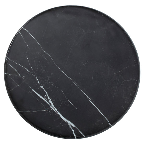 """American Metalcraft MB171 17 1/4"""" x 1 1/8"""" Round Melamine Serving Board - Faux Black Marble"""
