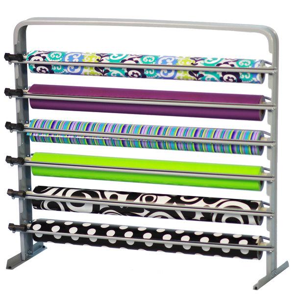 "Bulman T624-27 27"" Horizontal Gray 6 Roll Paper Cutter Rack"