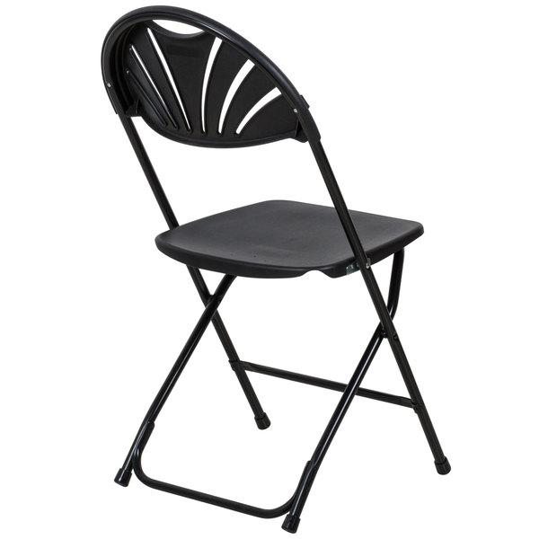 Lancaster Table Seating Black Plastic Fan Back Folding Chair