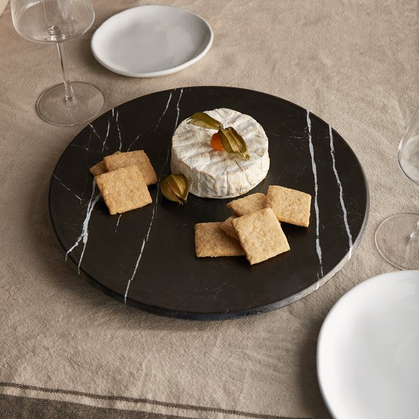 "American Metalcraft MB14 14"" x 1 1/8"" Round Melamine Serving Board / Charger - Faux Black Marble"