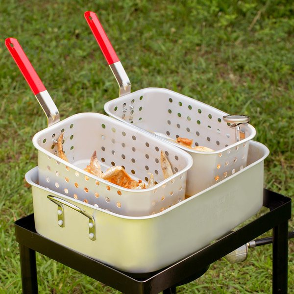 """Backyard Pro 18 Qt. Aluminum Fry Pot with (2) 11"""" x 7"""" x 4"""" Fry Baskets for Select Outdoor Ranges Main Image 4"""