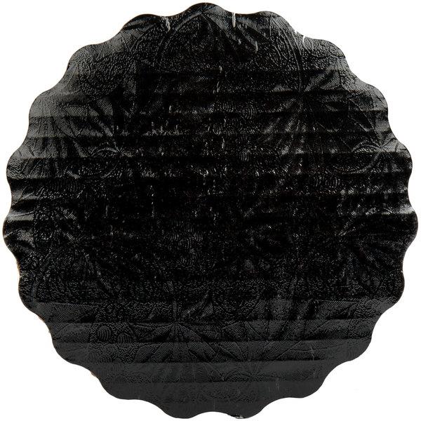 """Enjay SW-614RSBEMB 6 1/4"""" Black Laminated Corrugated Cake Circle - 200/Case Main Image 1"""
