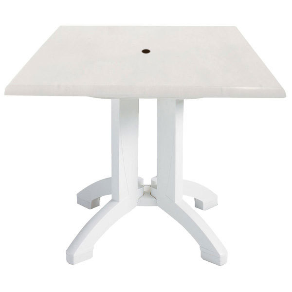 Grosfillex US Atlanta Square White Pedestal Table With - White square pedestal table