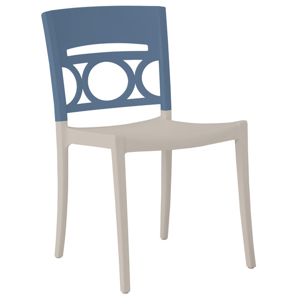 Case of 16 Grosfillex US656680 / US556680 Moon Linen Stackable Chair with Denim Blue Back