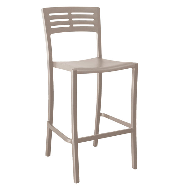 Pack of 8 Grosfillex US638181 / US739181 Vogue French Taupe Outdoor / Indoor Stackable Barstool