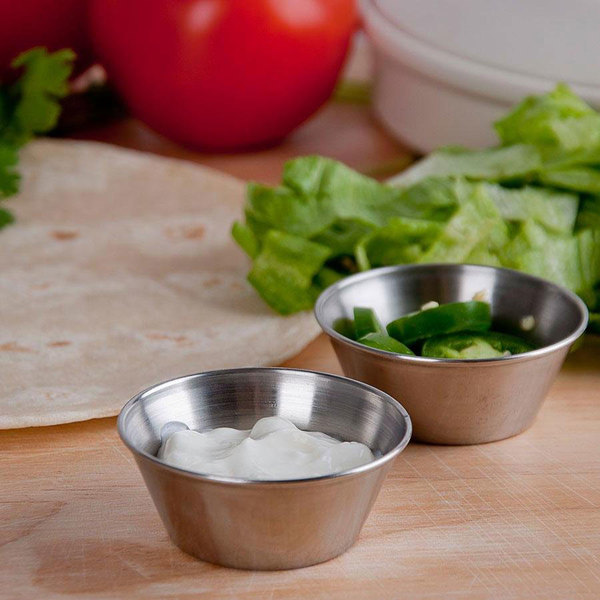 Choice 1.5 oz. Stainless Steel Round Sauce Cup - 144/Case Main Image 3
