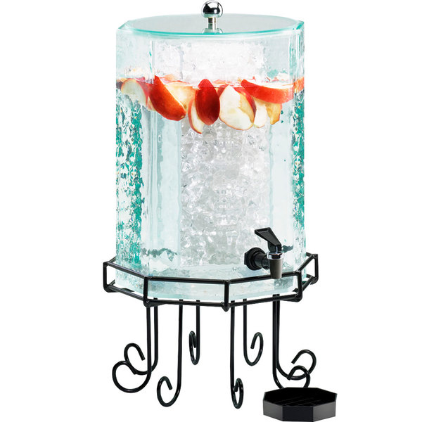 Cal-Mil 932-2 Glacier Acrylic 2 Gallon Octagonal Beverage Dispenser with Ice Chamber Main Image 1