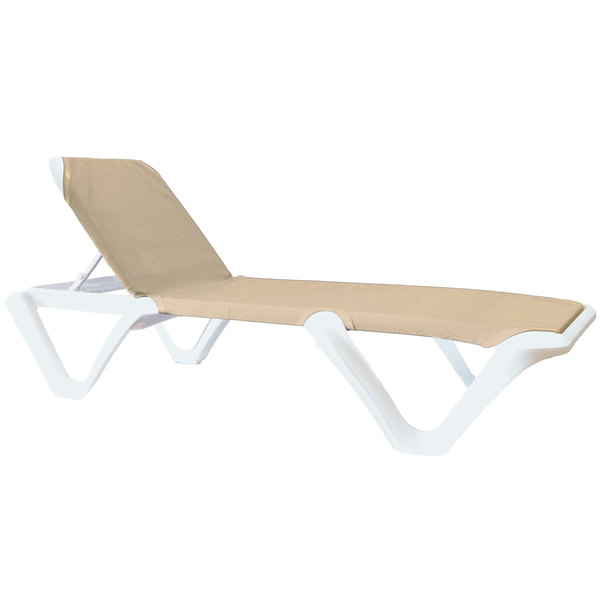 Pack of 12 Grosfillex 99904004 / US894004 Nautical Pro White Chaise with Khaki Sling Seat