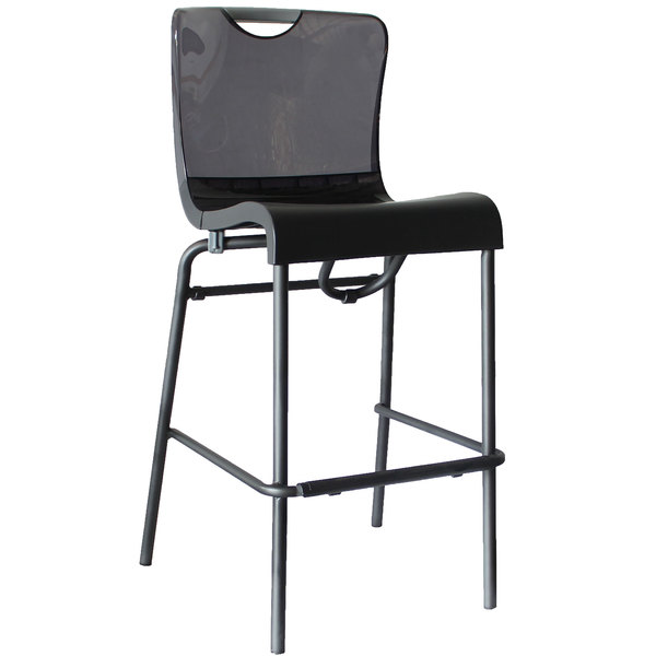 Case of 8 Grosfillex US229208 / US922208 Krystal Resin Stackable Barstool with Smoke Back and Charcoal Seat