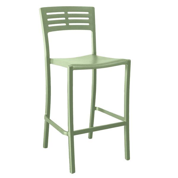 Pack of 8 Grosfillex US638721 / US739721 Vogue Sage Green Outdoor / Indoor Stackable Barstool
