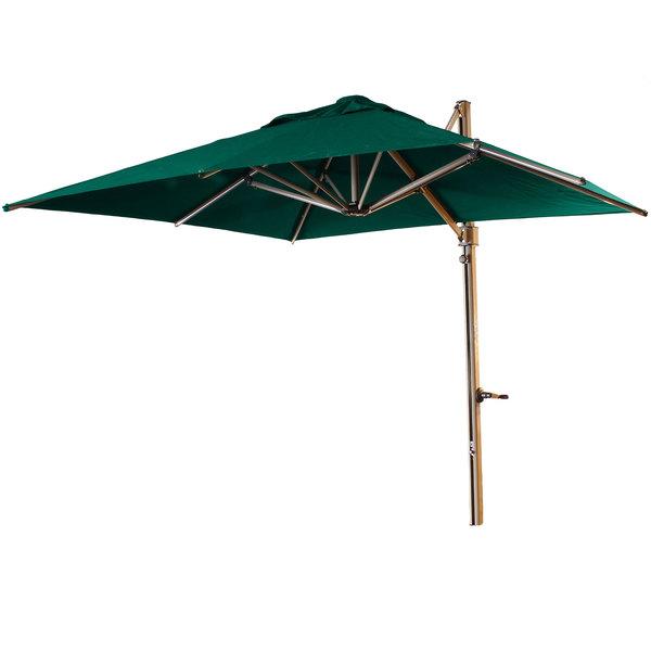 Grosfillex green cantilever umbrella on white