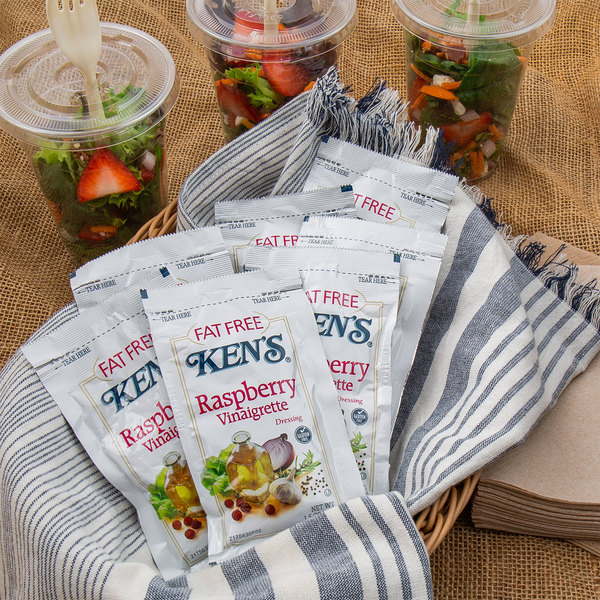 Ken's Foods 1.5 oz. Fat-Free Raspberry Vinaigrette Packet - 60/Case