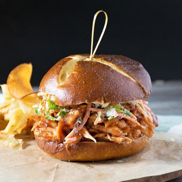 "European Bakers 12-Pack 4"" Sliced Pretzel Hamburger Bun - 6/Case Main Image 4"