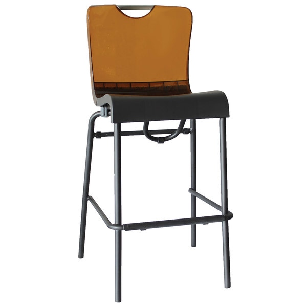 Case of 8 Grosfillex US229447 / US922447 Krystal Resin Stackable Barstool with Amber Back and Charcoal Seat