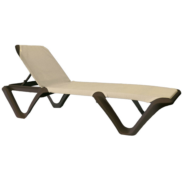 Pack of 12 Grosfillex 99902137 / US892137 Nautical Pro Bronze Chaise with Khaki Sling Seat
