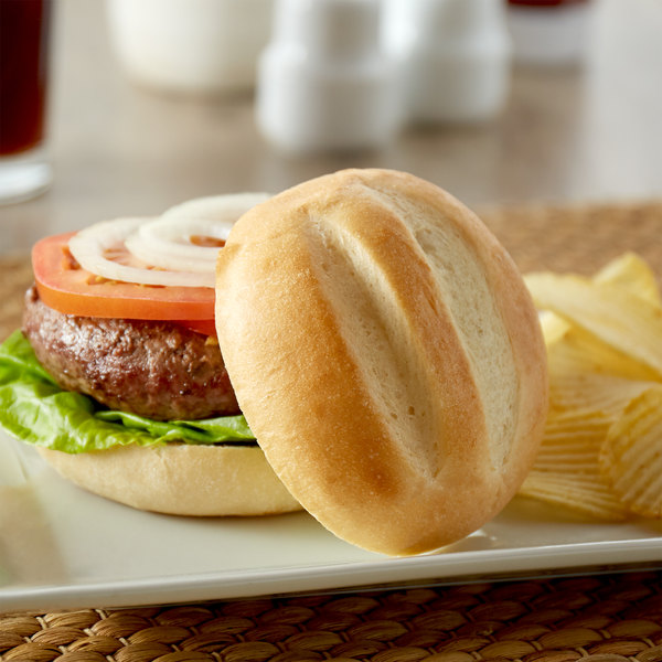 "European Bakers 12-Pack 4"" Hearth Baked Sliced Hamburger Bun - 8/Case"