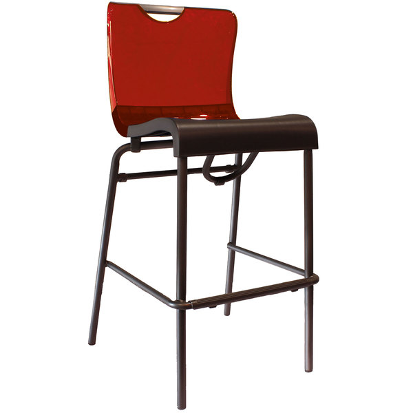 Pack of 8 Grosfillex US229207 / US922207 Krystal Resin Stackable Barstool with Red Back and Charcoal Seat