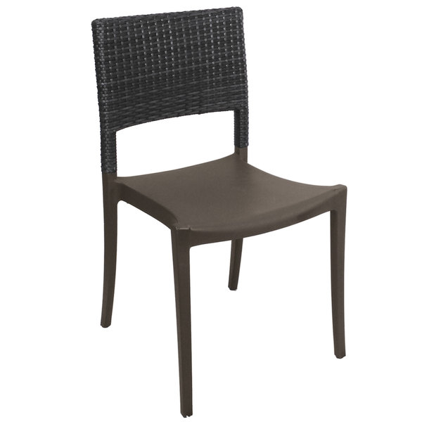 Case of 16 Grosfillex US925002 / US985002 Java Charcoal Resin Stackable Sidechair with Wicker Back