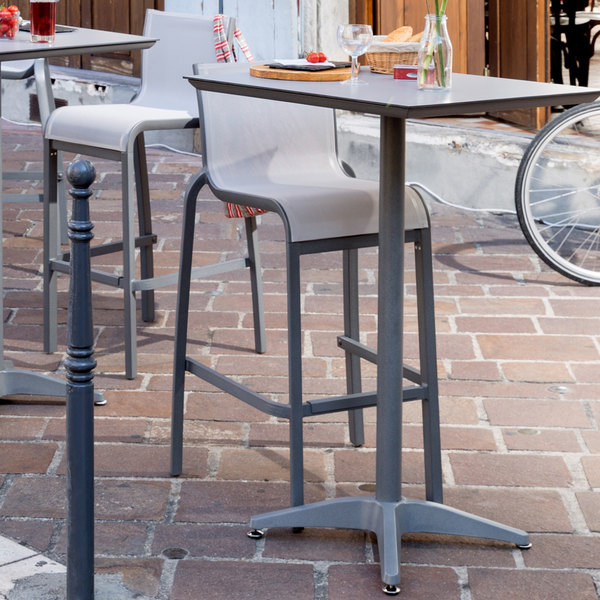 Pack of 2 Grosfillex US300289 / US030289 Sunset Platinum Gray Resin Stackable Armless Barstool with Solid Gray Sling Seat