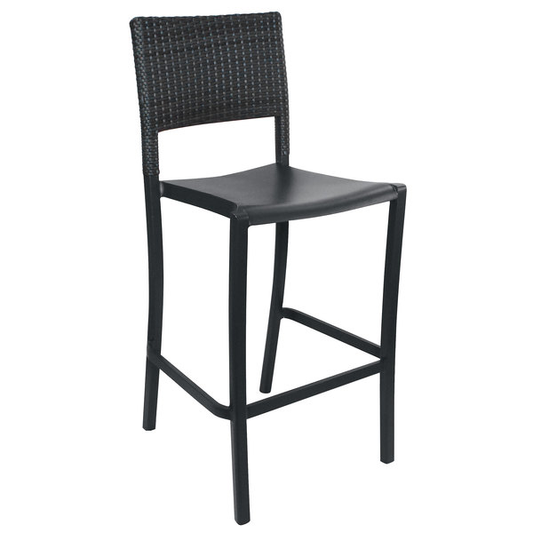 Pack of 8 Grosfillex US927002 / US987002 Java Charcoal Aluminum Stackable Barstool with Wicker Back