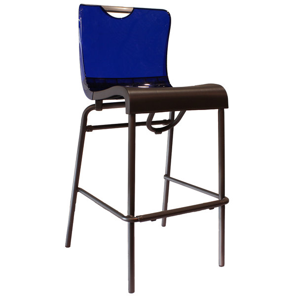 Case of 8 Grosfillex US229211 / US922211 Krystal Resin Stackable Barstool with Cobalt Blue Back and Charcoal Seat