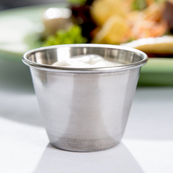 Choice 2.5 oz. Stainless Steel Round Sauce Cup - 144/Case Main Image 3