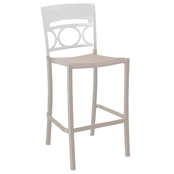 Pack of 8 Grosfillex US654096 / US456096 Moon Linen Aluminum Stackable Armless Barstool with Glacier White Back