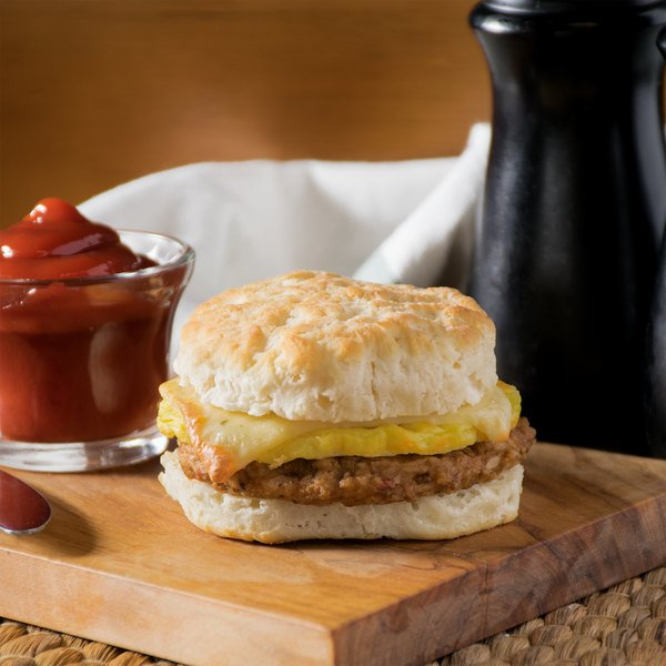 Jimmy Dean 5 oz. Hot & Spicy Sausage, Egg, and Pepperjack Cheese Breakfast Sandwich - 12/Case