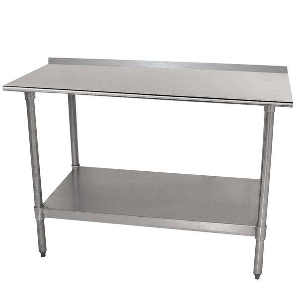 "Advance Tabco TTF-244-X 24"" x 48"" 18 Gauge Stainless Steel Work Table with Backsplash and Undershelf Main Image 1"