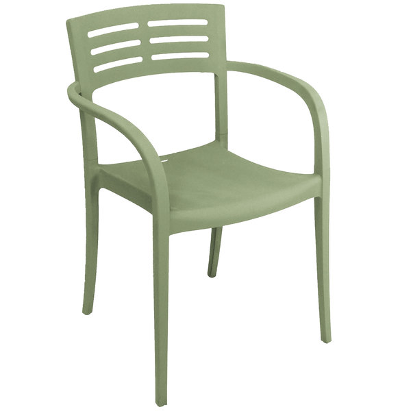 Case of 16 Grosfillex US633721 / US336721 Vogue Sage Green Resin Stackable Armchair