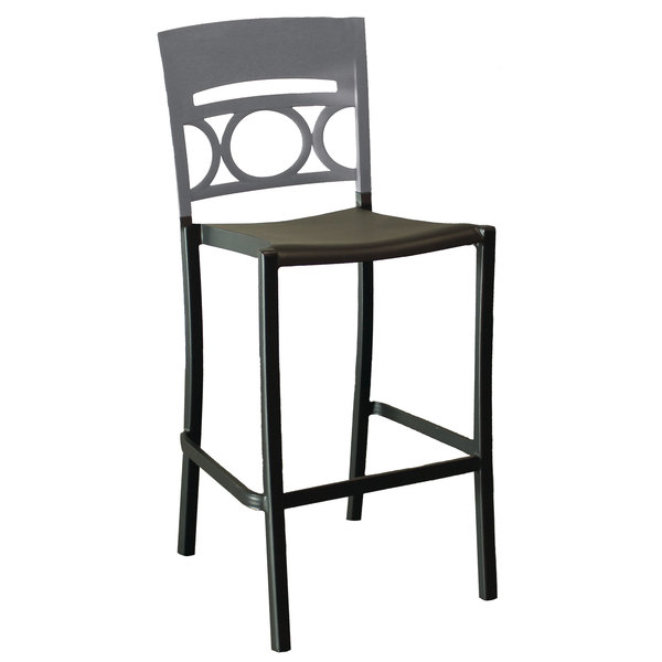 Pack of 2 Grosfillex US654579 / US456579 Moon Charcoal Aluminum Stackable Armless Barstool with Titanium Gray Back