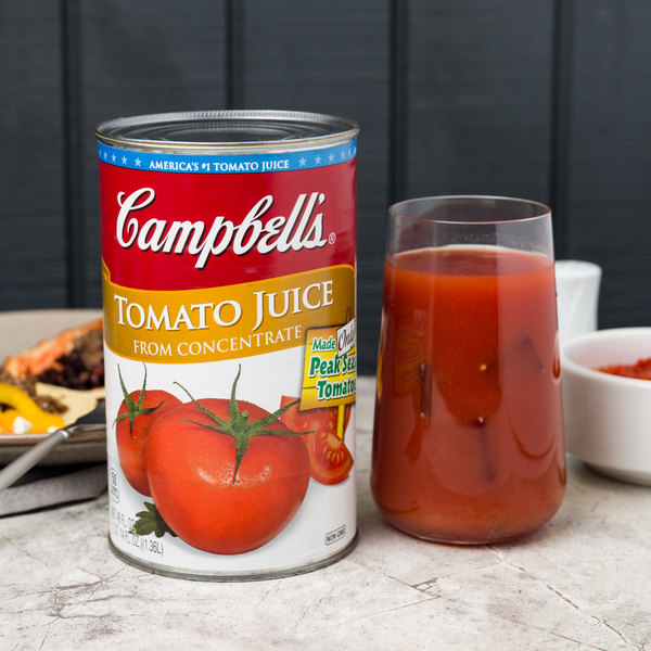 Campbell's 46 fl. oz. 100% Tomato Juice Can - 12/Case Main Image 2