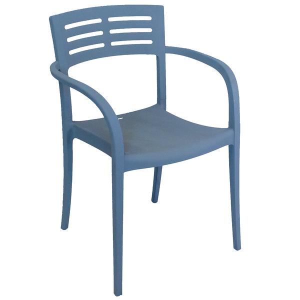 Case of 16 Grosfillex US633680 / US336680 Vogue Denim Blue Resin Stackable Armchair