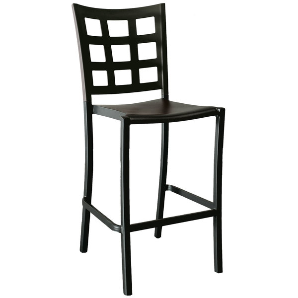 Pack of 8 Grosfillex US640017 / US046017 Plazza Black Aluminum Stackable Barstool with Window Back