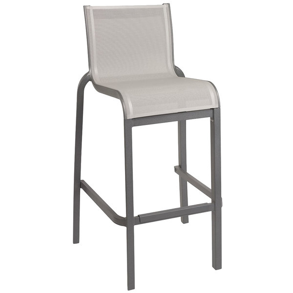 Case of 8 Grosfillex US300288 / US030288 Sunset Volcanic Black Resin Stackable Armless Barstool with Gray Sling Seat