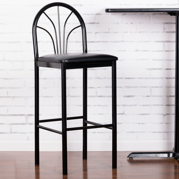 """Preassembled Lancaster Table & Seating Fan Back Bar Height Cafe Chair with 2"""" Black Padded Seat"""
