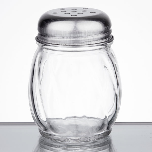 6 oz. Glass Cheese Shaker with Perforated Chrome Top - 12/Pack