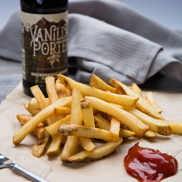 """Lamb Weston Private Reserve 5 lb. 3/8"""" Regular Cut French Fries with Skin On - 6/Case"""