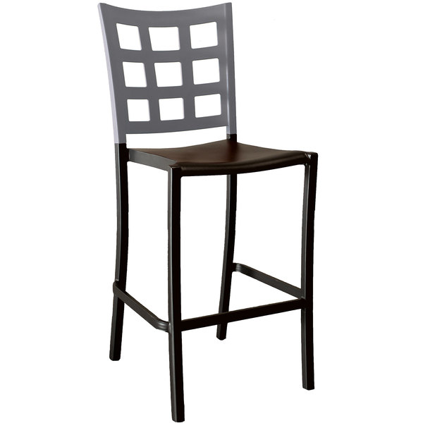 Pack of 8 Grosfillex US640579 / US046579 Plazza Charcoal Aluminum Stackable Barstool with Titanium Gray Window Back