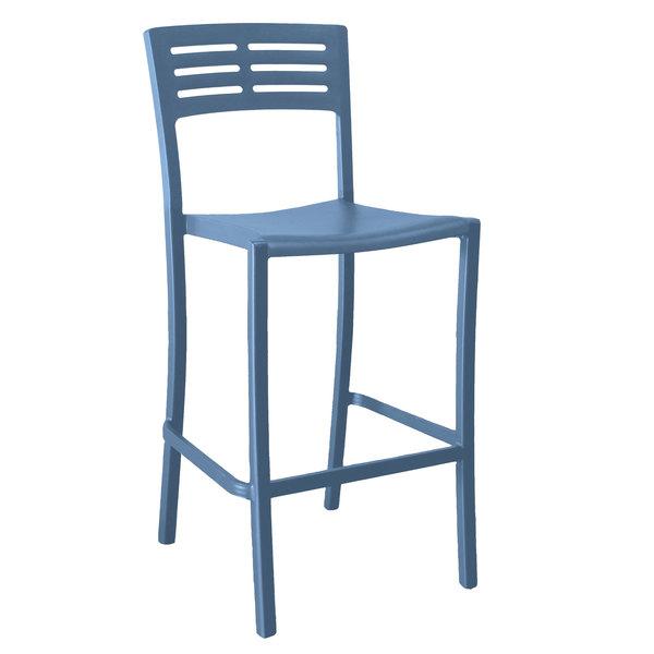Pack of 8 Grosfillex US638680 / US739680 Vogue Denim Blue Aluminum Outdoor / Indoor Stackable Barstool