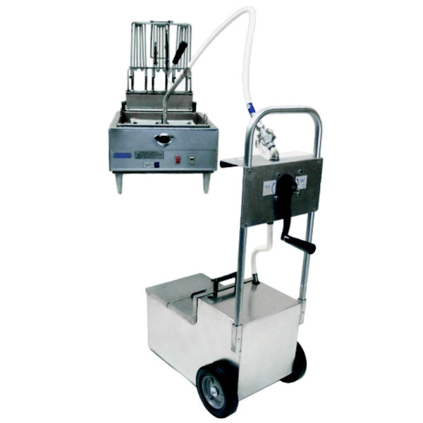 MirOil HOS0640 70 lb. Fryer Oil Hand Operated Filter Machine and Discard Trolley - Countertop Main Image 1