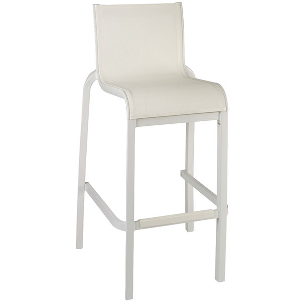 Case of 8 Grosfillex US300096 / US030096 Sunset Glacier White Resin Stackable Armless Barstool with White Sling Seat